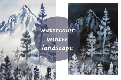 watercolor landscape and nature new year illustration and trees snow