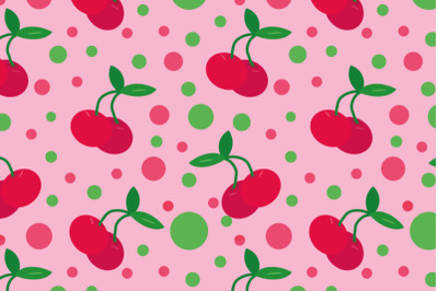 cherry seamless pattern flat pink