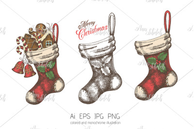 Vector hand drawn set of Christmas Socks.