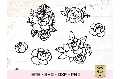 Peony and Daisy flowers SVG
