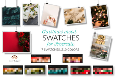 Christmas Procreate color palette. New Year Procreate swatches. Winter