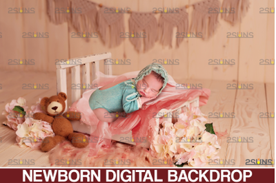 Newborn backdrop & Baby floral backdrop, Photoshop overlay