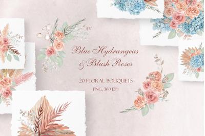 Blue Hydrangeas & Blush Roses Wedding Bouquets Clipart