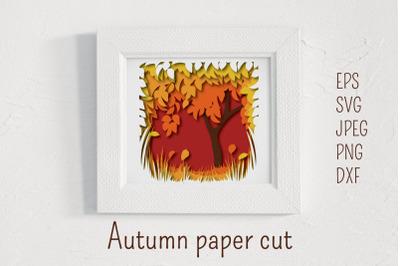 Autumn paper cut landscape