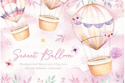 Sweet Balloon Watercolor Clip Arts