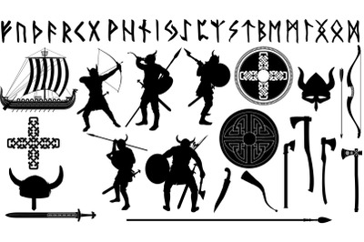 a large set of Vikings with their weapons and related items