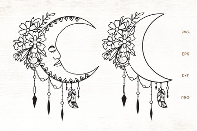 Floral Moon SVG - Moon With Flowers