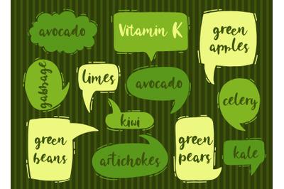 Vitamin K organic food set.
