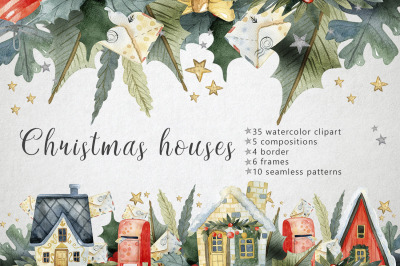 Watercolor Christmas Houses