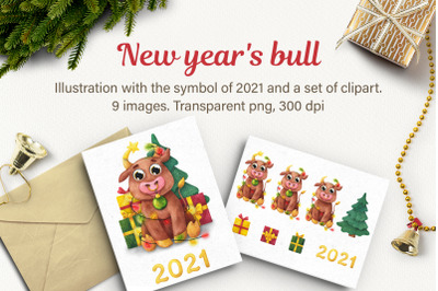 New year's bull. Watercolor Happy New Year Cute Bulls clipart, Symbol of a year 2021, Merry Christmas Clipart, Funny Bulls, Cute Animal