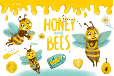 Honey and bee Clipart.