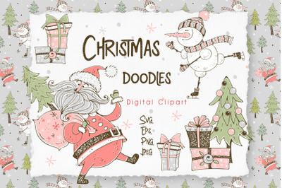 Santa Claus and the merry snowman, Christmas digital clipart