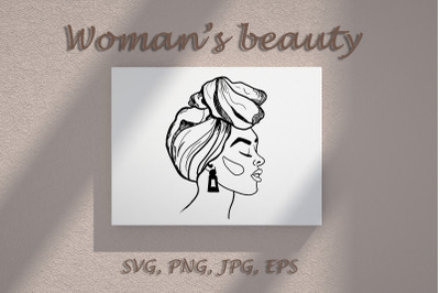 Vector woman's face outline. SVG