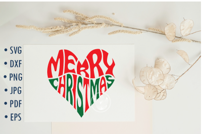 Merry Christmas Word Art Svg cut file, Heart shape typography