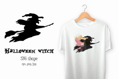 Halloween witch on the broom. SVG shape