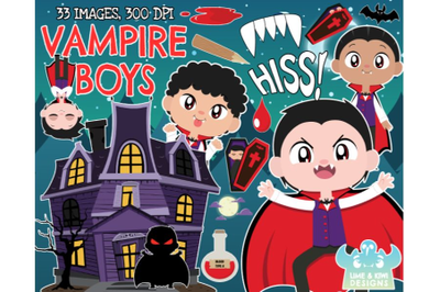 Vampire Clipart Boys - Lime and Kiwi Designs
