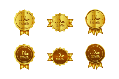 Vector golden halal-certified badges with Arabic writing and ribbon