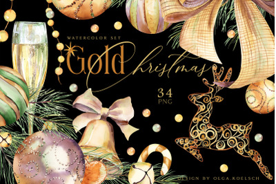 Gold Christmas decor clipart Watercolor Christmas png Champagne glass
