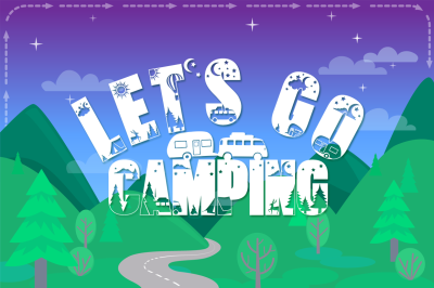 Let's Go Camping Font - Camping & Hiking Font