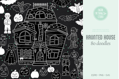 Haunted House White | Hand Drawn Monster Character, Halloween Pumpkin