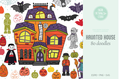 Haunted House Color | Hand Drawn Monster Character, Halloween Pumpkin