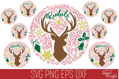 Reindeer Names SVG Pack  | Round Christmas SVG Ornaments