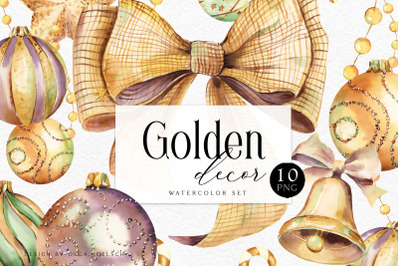 Golden Christmas clipart Watercolor holiday clip art Christmas png