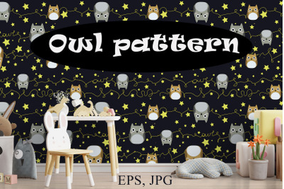 Seamless vector pattern with cute owls. Digital paper