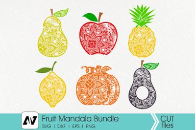 Fruit Mandala Svg Bundle, Pumpkin Mandala Svg, Apple Mandala Svg