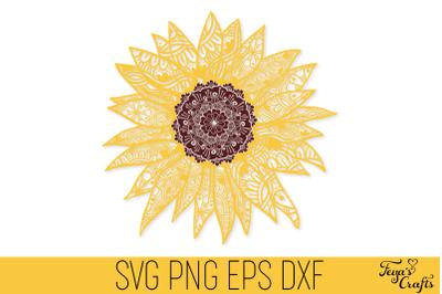 Sunflower Mandala SVG Cut File | Sunflower Zentangle SVG