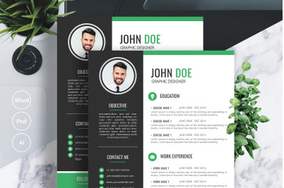 Creative Resume Template with Business card