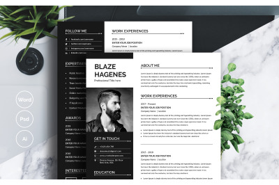 Resume Layout with Dark Gray Sidebar