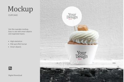 Cream Caramel Cupcake Topper Mock Up   Compatible W/ Affinity Designer