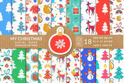 Christmas seamless patterns, digital paper.