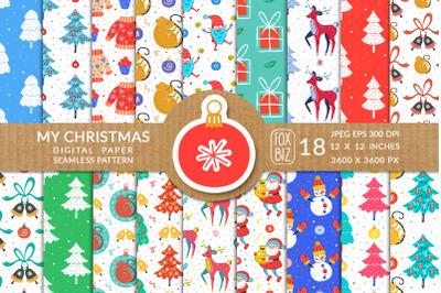 Christmas seamless patterns, digital paper.