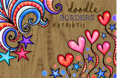 Patriotic American July Fourth Borders