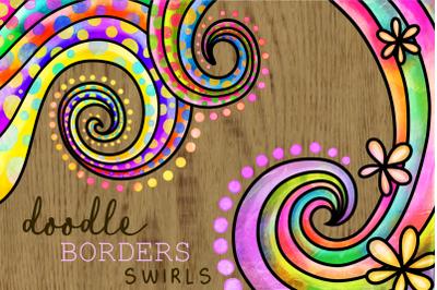 Swirly Doodle Watercolor Ink Borders