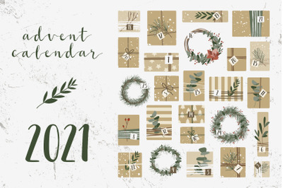 Advent Calendar 2021. Gifts, wreaths. Xmas and New Year. 25 days