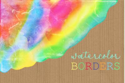 Watercolor Rainbow Brush Stroke Borders