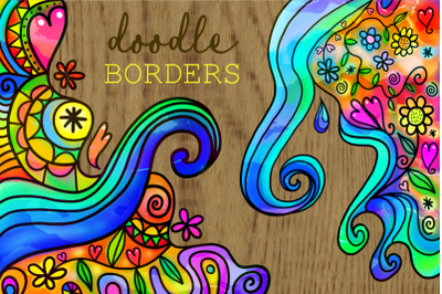 Watercolor Ink Folk Art Doodle Borders