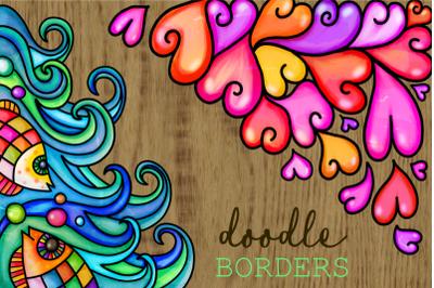 Watercolor Folk Art Doodle Borders