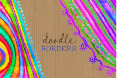 Watercolor Ink Decorative Doodle Borders