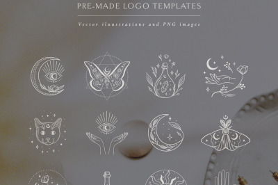 Logo Illustrations: White Color. Esoteric mystic symbols. Flowers.