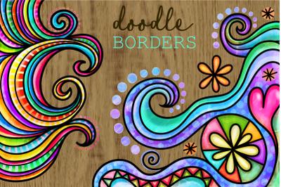 Watercolor Ink Doodle Decor Page Borders