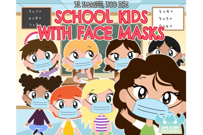 School Kids with Face Masks Clipart - Lime and Kiwi Designs