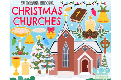 Christmas Churches Clipart - Lime and Kiwi Designs