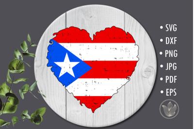 Puerto Rico flag heart sublimation design