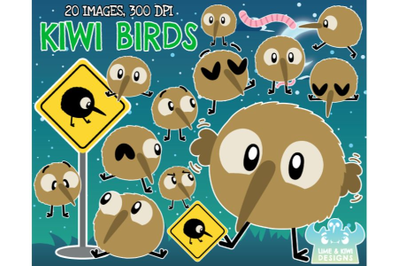 Kiwi Birds Clipart - Lime and Kiwi Designs