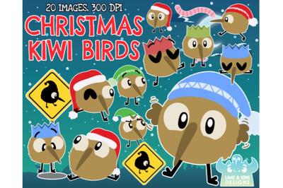 Christmas Kiwi Birds Clipart - Lime and Kiwi Designs