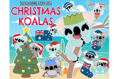 Christmas Koalas Clipart - Lime and Kiwi Designs
